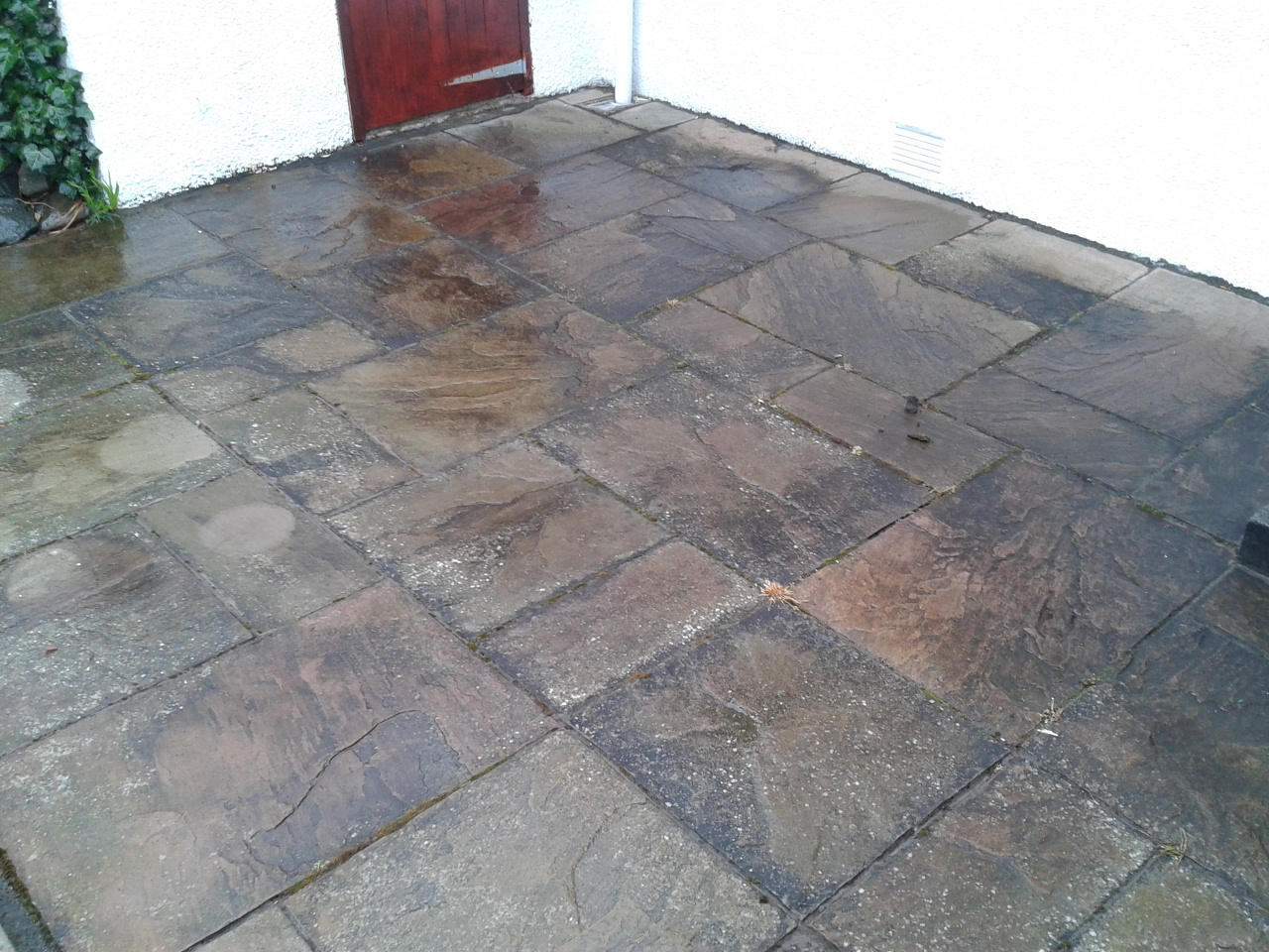 sandstone paving before
