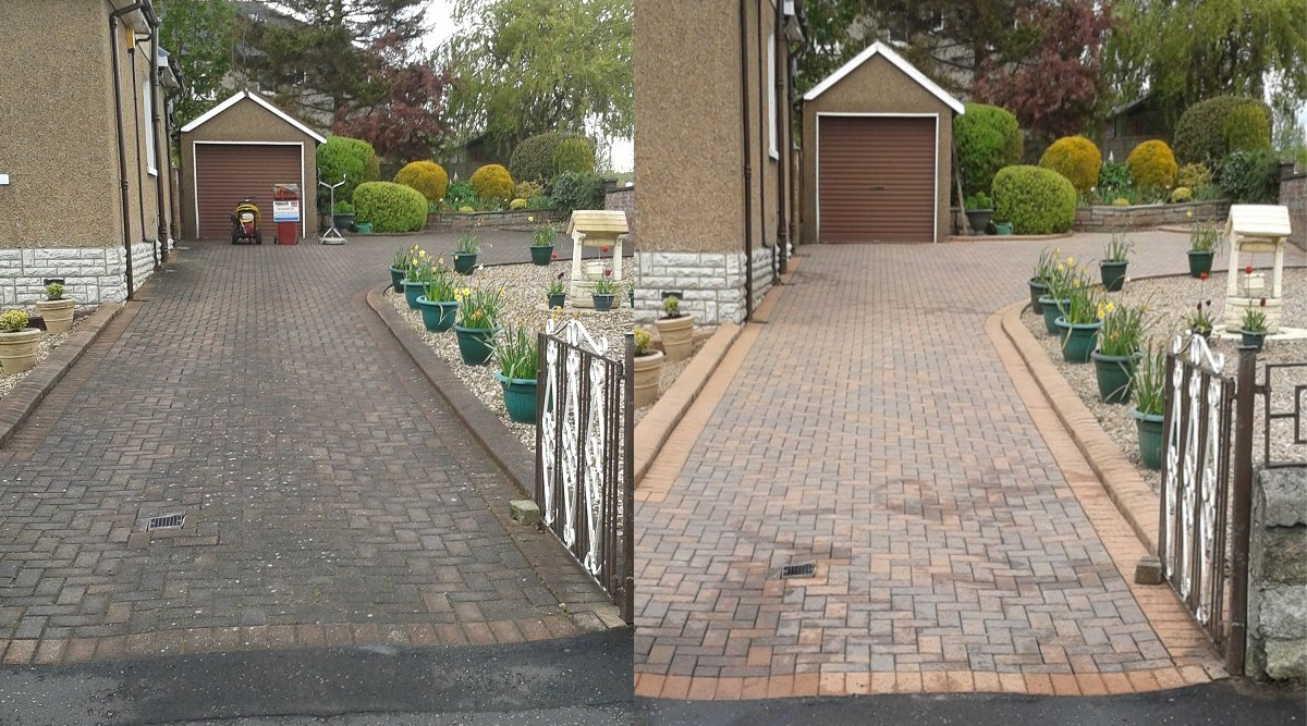 Block Driveway before/after