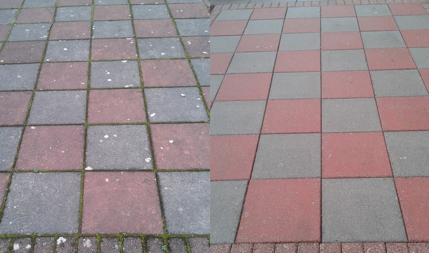 coloured paving before/after